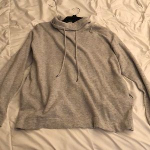 gray f21 drawstring sweatshirt